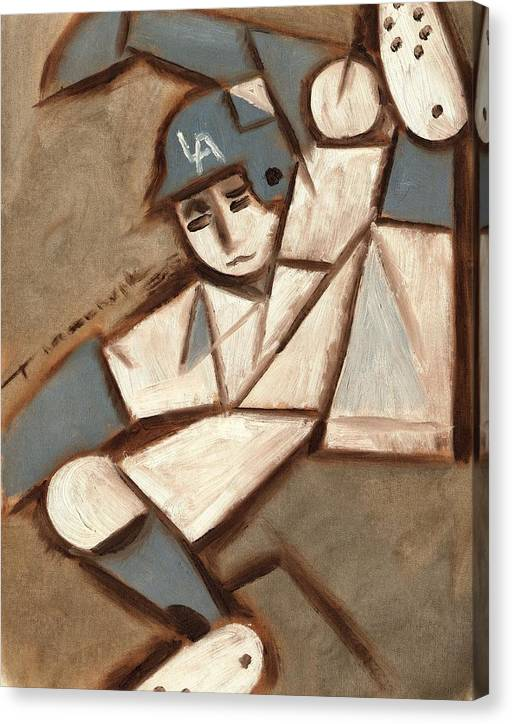 Los Angeles Dodgers Canvas Print featuring the painting Cubism LA Dodgers Baserunner Painting by Tommervik