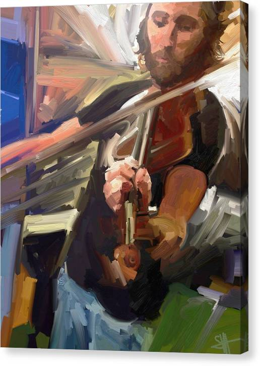 Art Canvas Print featuring the digital art The Fiddler by Scott Waters