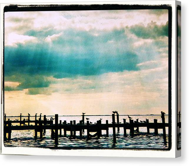 Limited Time Promotion:  Stormy Rays On The Sea Birds Stretched Canvas Print
