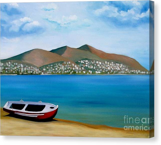 Limited Time Promotion: Lonely Boat Stretched Canvas Print