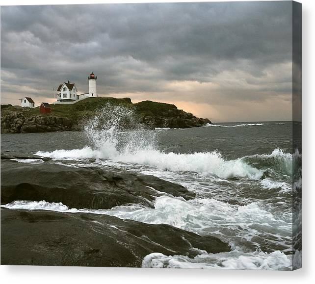 Limited Time Promotion: Nubble Light In A Storm Stretched Canvas Print
