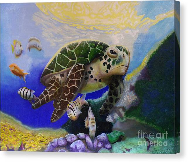 Limited Time Promotion: Sea Turtle Acrylic Painting Stretched Canvas Print