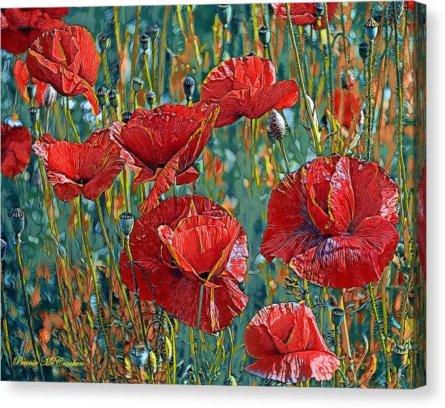 Limited Time Promotion: Poppy Field Stretched Canvas Print by Pennie McCracken