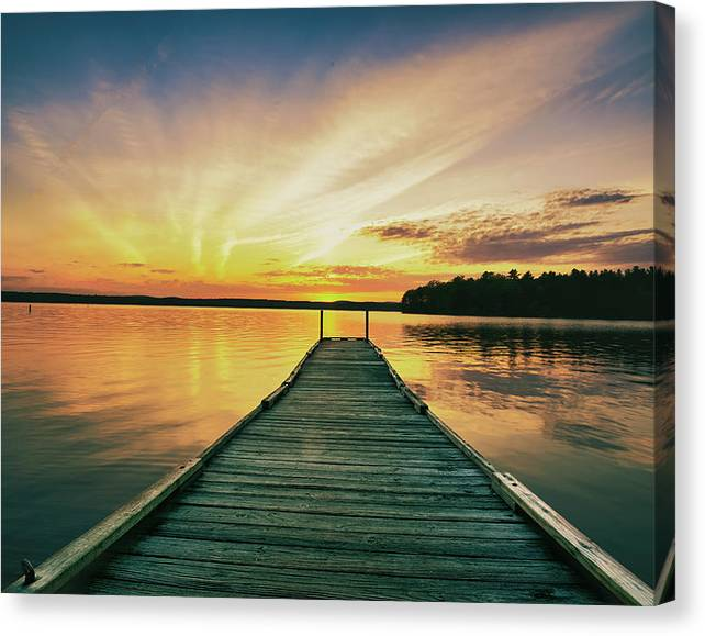Limited Time Promotion: Lake Sunset Stretched Canvas Print by Bob Orsillo
