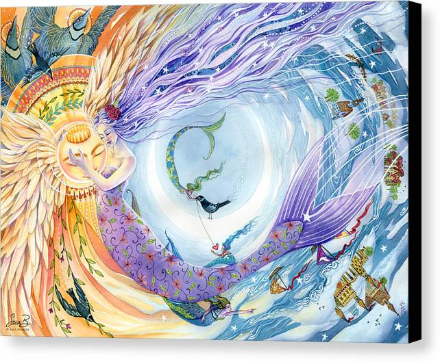 Mermaids Canvas Print featuring the painting You Are The Sun I Am The Moon by Sara Burrier
