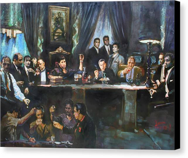 Gangsters Canvas Print featuring the painting Fallen Last Supper Bad Guys by Ylli Haruni