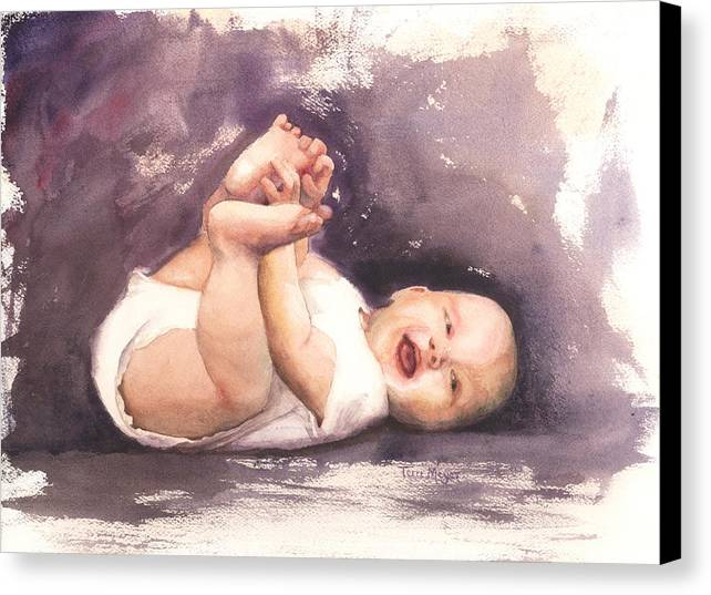 Laughing Baby Picture Canvas Print featuring the painting That's Such A Laugh by Terri Meyer