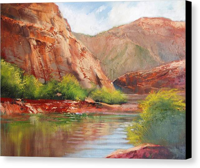 Landscape Canvas Print featuring the painting Around The Bend by Robert Carver