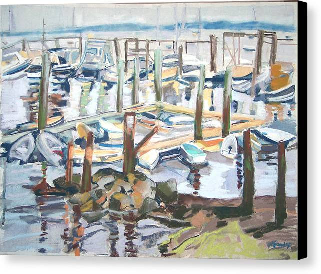 Maine Canvas Print featuring the pastel Guardians Of The Harbor by Grace Keown