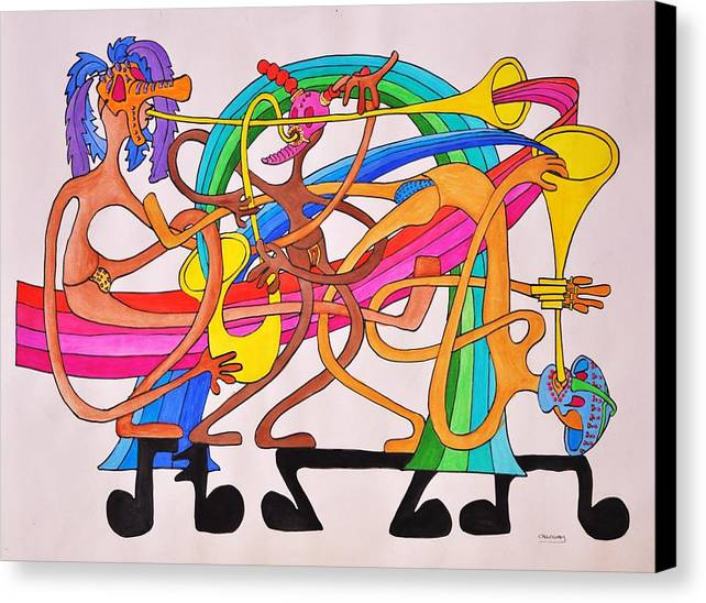 Happy Canvas Print featuring the drawing Happy People Horns by Glenn Calloway
