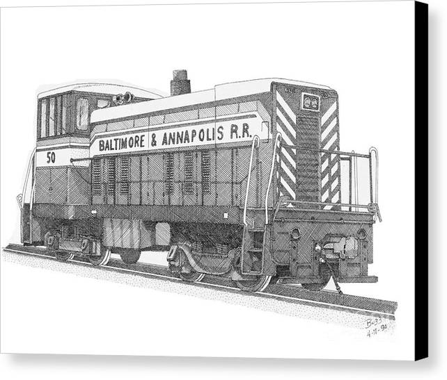Baltimore And Annapolis Canvas Print featuring the drawing Switcher Number 50 by Calvert Koerber