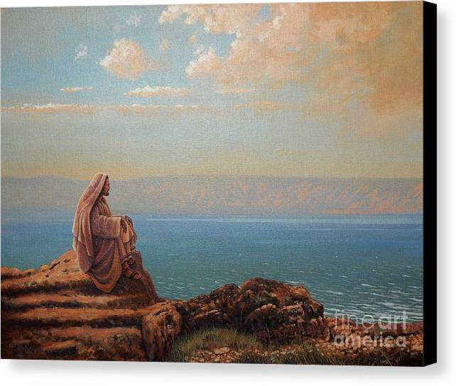 Jesus Canvas Print featuring the painting Jesus By The Sea by Michael Nowak