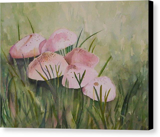 Landscape Canvas Print featuring the painting Mushrooms by Suzanne Udell Levinger