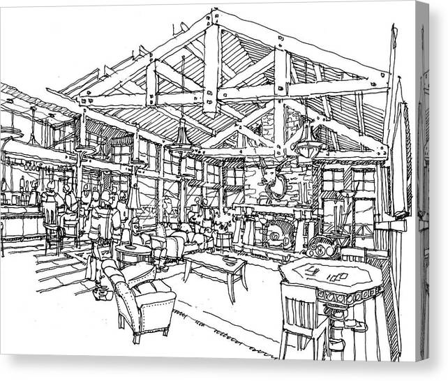 Jnterior Image Of Rustic Skiing Lodge Canvas Print featuring the drawing Lodge by Andrew Drozdowicz