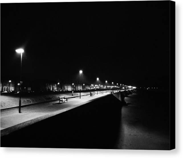 Bw Canvas Print featuring the photograph Seafront Promenade At Night by Preston Reed