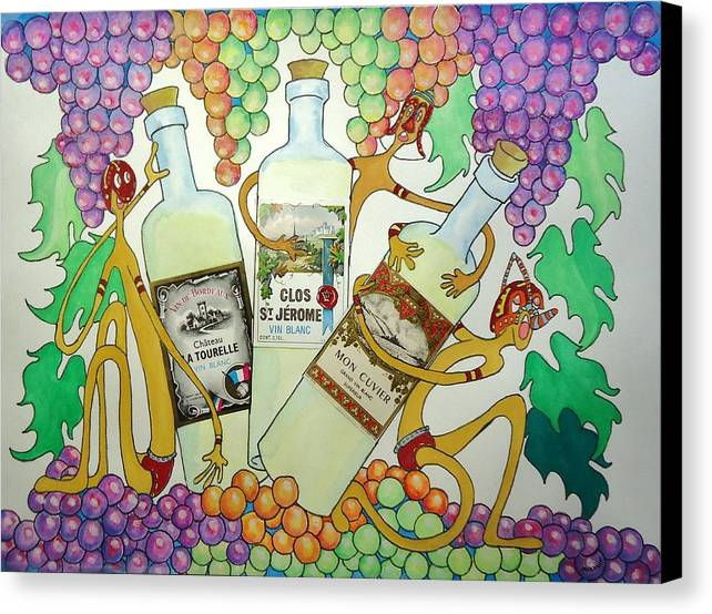 Grapes Canvas Print featuring the painting Happy People With Wine by Glenn Calloway