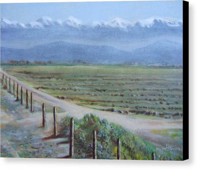 Landscape Canvas Print featuring the painting Central Valley At Tulare by Howard Stroman