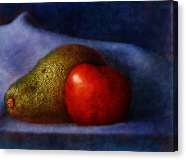 Food Canvas Print featuring the digital art Avocado And Tomato by Zev Robinson