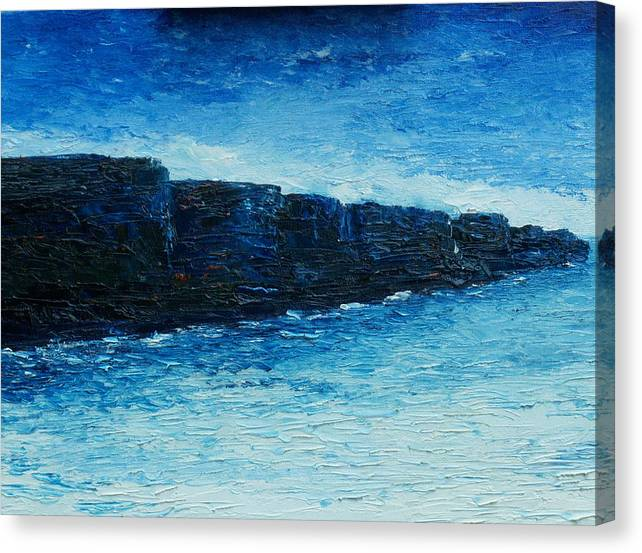 The Cliffs Of Moher Canvas Print featuring the painting The Cliffs by Conor Murphy
