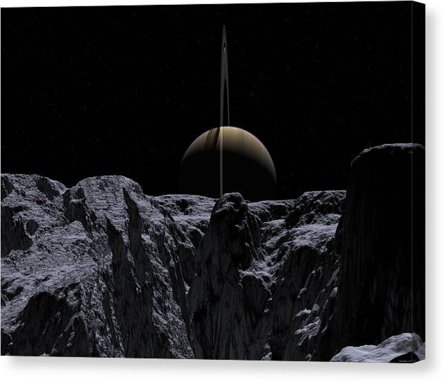 Cassini Canvas Print featuring the digital art A View From Rhea by David Robinson