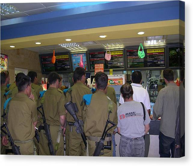 Israel Canvas Print featuring the photograph Israeli Soldiers Stop At A Kosher Mcdonald's by Susan Heller