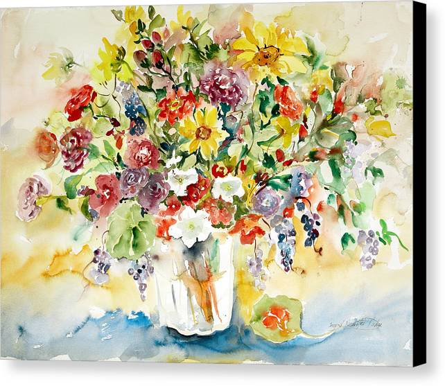 Watercolor Canvas Print featuring the painting Arrangement IIi by Alexandra Maria Ethlyn Cheshire