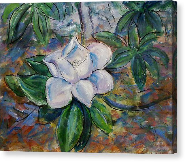 Magnolia Canvas Print featuring the painting Magnolia's Flower by Nuria Vives