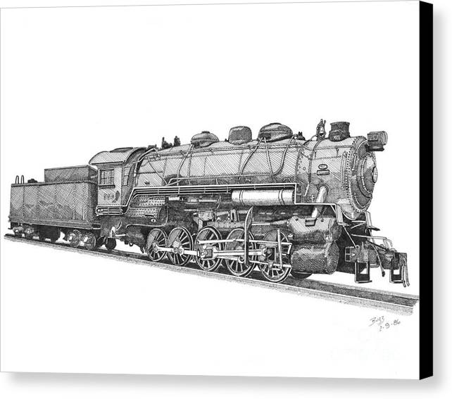 Locomotive Canvas Print featuring the drawing Heavy Steam Switcher 0-10-0 by Calvert Koerber