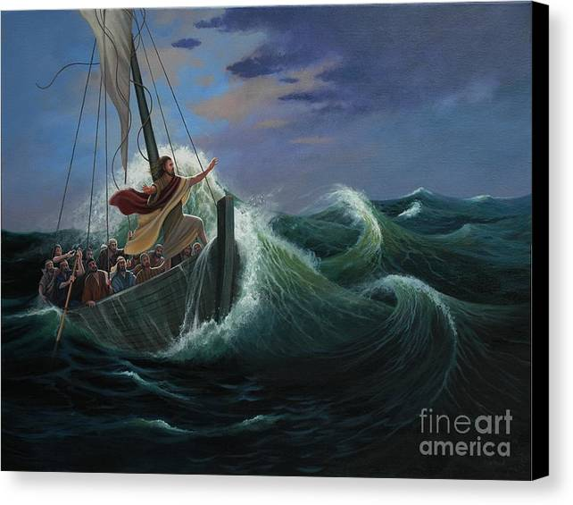 Bible Canvas Print featuring the painting Peace Be Still by Michael Nowak