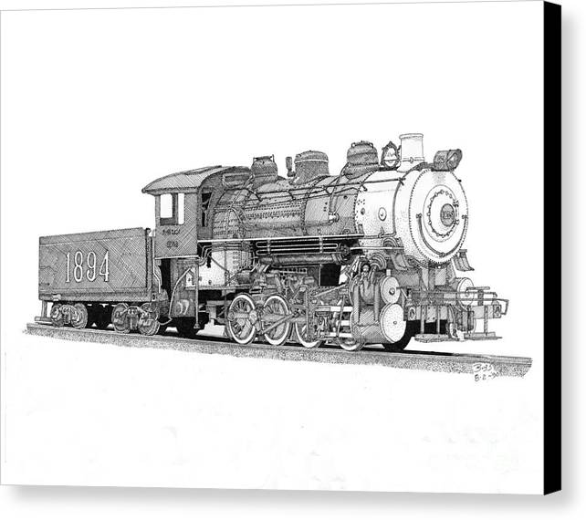 Locomotive Canvas Print featuring the drawing Steam Switcher Number 1894 by Calvert Koerber