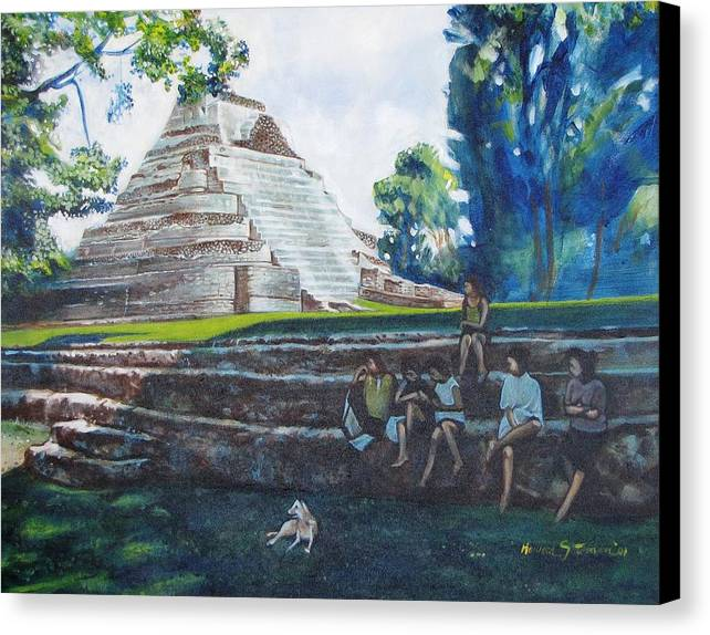 Sunny Afternoon In The Shade Canvas Print featuring the painting Myan Temple by Howard Stroman