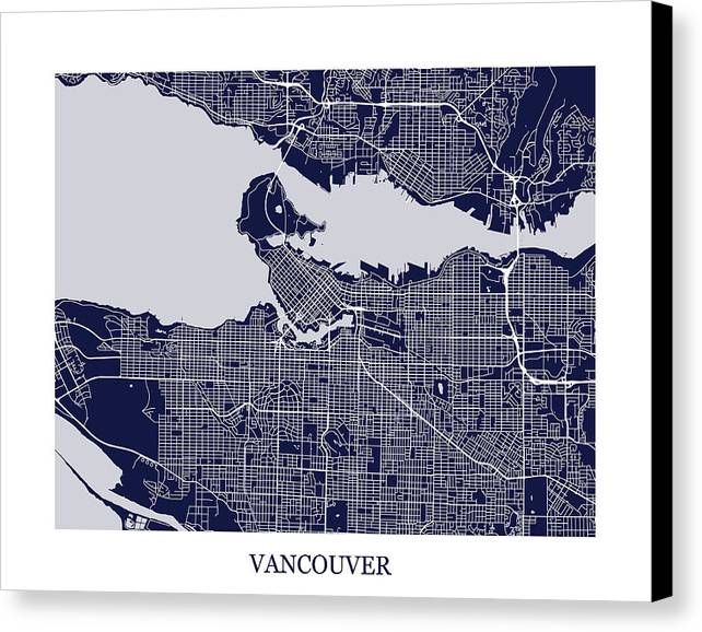Vancouver british columbia abstract street map print canvas print vancouver canvas print featuring the digital art vancouver british columbia abstract street map print by eric gumiabroncs Gallery