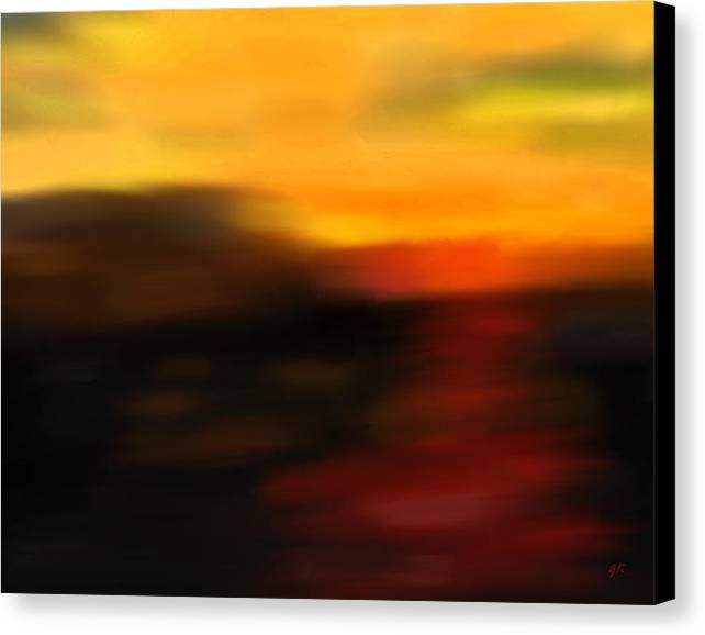 Abstract Art Canvas Print featuring the painting Day's End by Gerlinde Keating - Galleria GK Keating Associates Inc