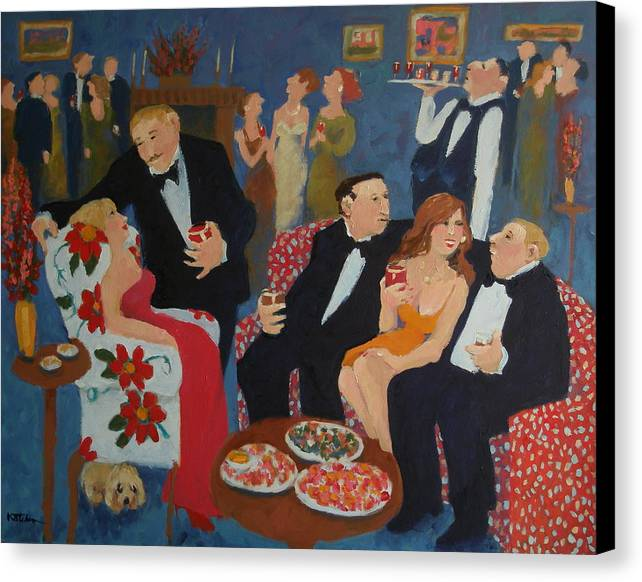 Parties Canvas Print featuring the painting The Same Old Stories by Carole Katchen