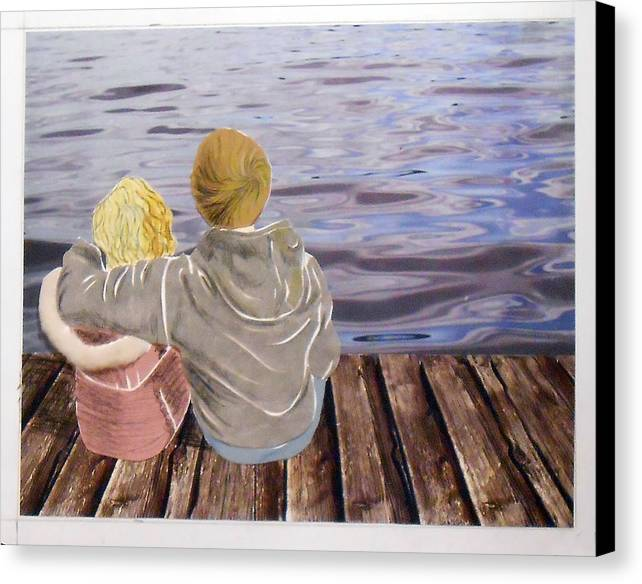 Boy And Girl Canvas Print featuring the mixed media Tranquil Waters by Martha Rucker