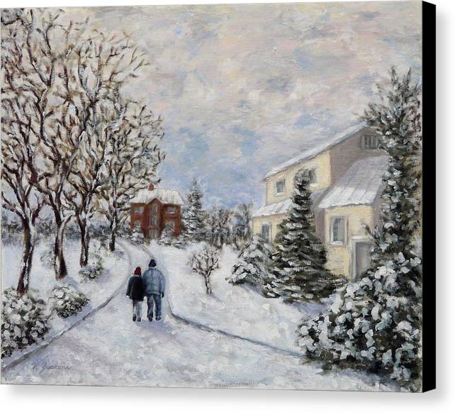 A Young Couple Walking In The Snow Canvas Print featuring the painting Going Home by Victor Zucconi
