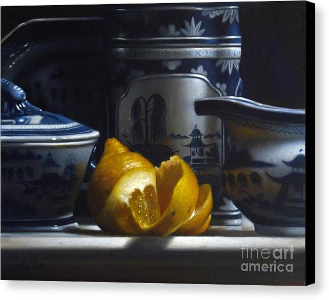 Canton Canvas Print featuring the painting Yellow White Blue by Lawrence Preston