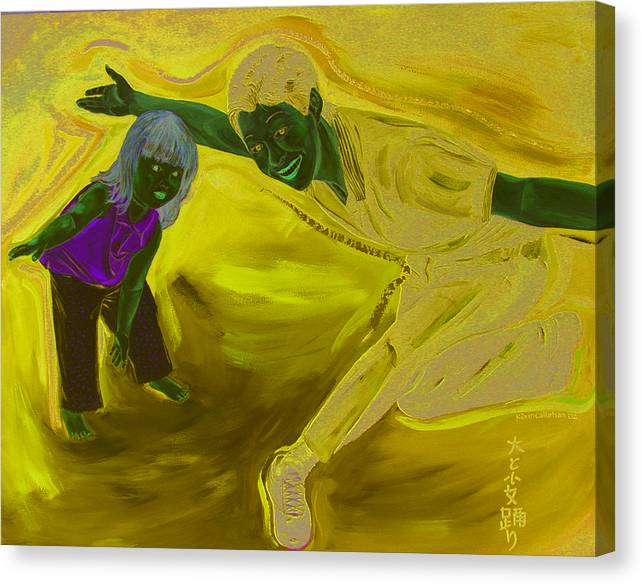 Kevin Callahan Canvas Print featuring the painting Big And Little Women Dancing by Kevin Callahan