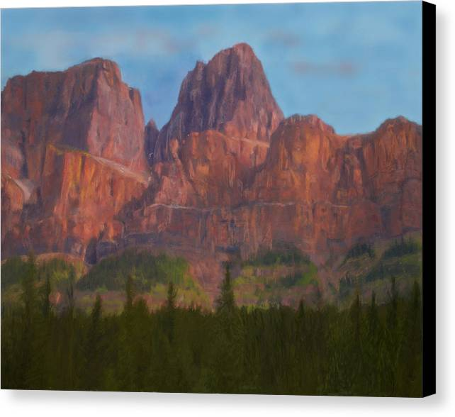 Nature Canvas Print featuring the digital art Mighty Mountains by Jo-Anne Gazo-McKim
