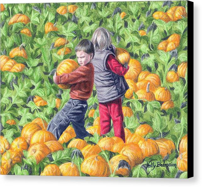 Canvas Print featuring the drawing Picking Pumpkins by Holly Bedrosian