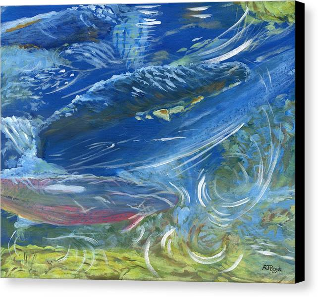Trout Canvas Print featuring the painting Trout Swirls by Robert Boyd
