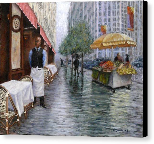 New York City Cafe Street Scene Canvas Print featuring the painting Shower On Sixth Avenue by Victor Zucconi
