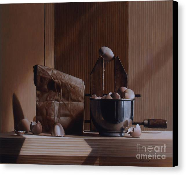 Eggs Canvas Print featuring the painting Eggs And Cardboard by Larry Preston