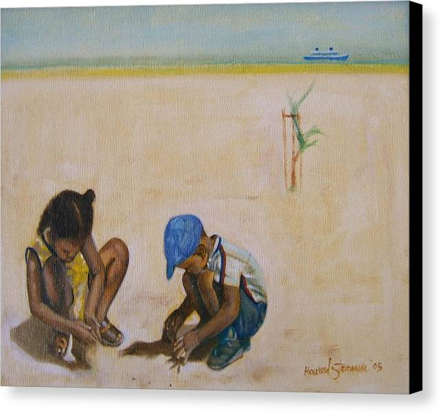 Children At The Beach Canvas Print featuring the painting Searching For Treasure by Howard Stroman