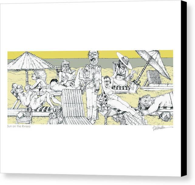 Beach Canvas Print featuring the digital art Sun On The Riviera by Dennis Wunsch