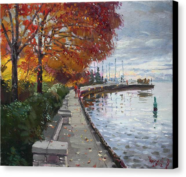 Port Credit Canvas Print featuring the painting Fall In Port Credit On by Ylli Haruni