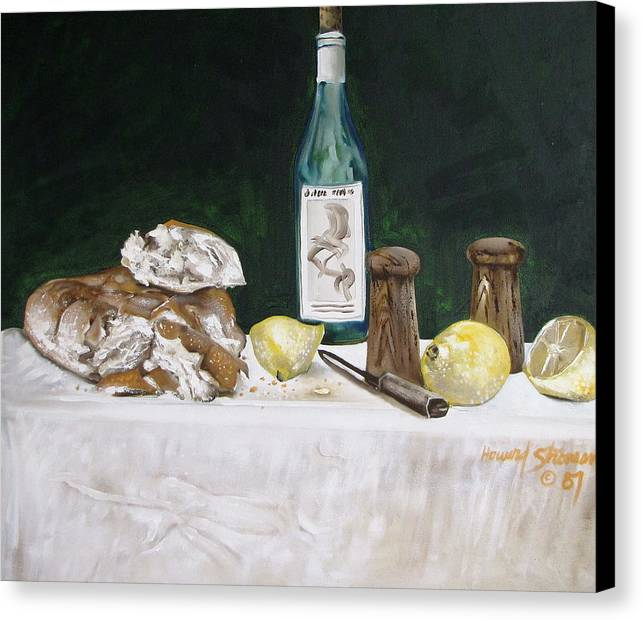 Stil Life;lemons;wine;bread;table Setting;salt;pepper;food Canvas Print featuring the painting Bread And Wine by Howard Stroman