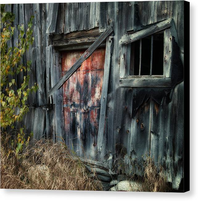 Old Barns Canvas Print featuring the photograph Crooked Barn - Rustic Barns Series by Thomas Schoeller