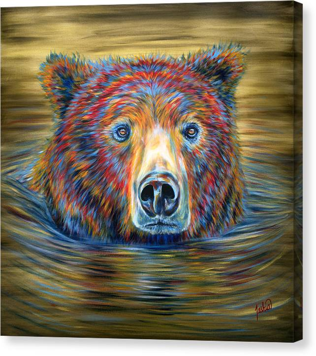 Swimming Bear Canvas Print featuring the painting Taking A Dip by Teshia Art