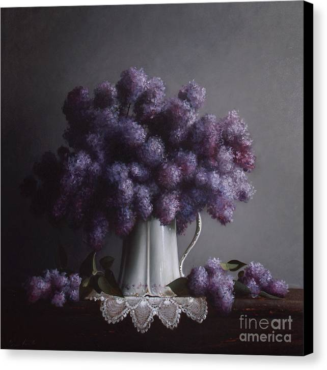 Lilacs Canvas Print featuring the painting Lilacs Study No.2 by Larry Preston